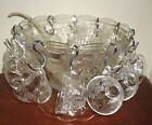 Vintage 1950s Anchor Hocking Grape Cluster Punch Bowl and 12 Cups Hooks