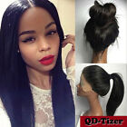Long Natural Black Wig Straight Synthetic Lace Front Wigs Women Heat Resistant