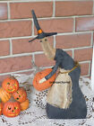 Primitive Halloween Witch Doll w her Pumpkin Shelf Sitter Fall Decoration Folk