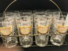 Set Of 8 Vintage Highball Glasses W/ Holder And Gold Design Mid Century Modern