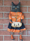 Primitive Halloween Cat Doll w her Pumpkin Kitty Fall Decoration Folk Art