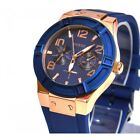 GUESS Women's U0571lL1Silicone Rigor Blue And Rose Gold Tone Watch