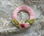 ANTIQUE VINTAGE FRENCH RIBBON FLOWER BRIDAL  LINGERIE DOLL APPLIQUE  MILLINERY