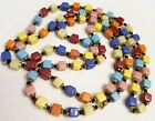 Vintage Art Deco Czech Harlequin Glass Beads Square Cube Beads LONG 50