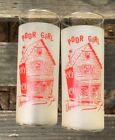 """POOR GIRL"" Frosted Tumblers Glasses 7"" Red"