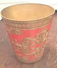 Vintage Italian Florentine Toleware Red and Gold Waste Basket Trash Can ITALY