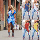 US Womens Plus Size Long T-shirt Ladies Casual Party Mini Split Dress Blouse Top