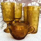 5 pc Vintage American Concord Amber Gold by Brockway Glass~Goblets Tumblers Cup