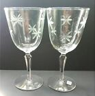 Libbey Set of 2 Cut Etched Tall Water Wine Glasses with Original Tag