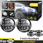 Fit JEEP JK TJ 7 LED Headlamp Hi Lo Sealed Beam Projector+Halo Bumper Fog Lamp
