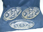 3 - vintage ANCHOR HOCKING Star of David RELISH DISHES 2 divided PICKLE DISH
