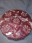 Beautiful Ruby Red Clear Pressed Glass Heavy Extra Large 8