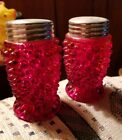Vintage Fenton Ruby Red Hobnail Salt and Pepper Shakers Silver Tone Lids