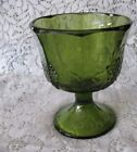 INDIANA GLASS AVACADO GREEN HARVEST COMPOTE HARVEST PATTERN PRESSED GRAPE