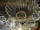 Vintage Glass Punch Bowl Set with Nine Cups