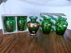 SET OF 5 EMERALD FOREST GREEN ANCHOR HOCKING Italy GLASS VASES 22k gold trim BOX