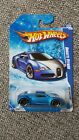 HOT WHEELS BUGATTI VEYRON BLUE SNOWFLAKES CARD AND GRAY FASTER THAN EVER