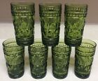 Vtg Indiana Glass Colony Park Lane Pattern Green Water Glasses Tumblers Set Of 7