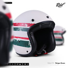 REBEL R9 Stripes Green JET HALF HELMET SCOOTER MOTORCYCLE MOPED OPEN FACE ECE