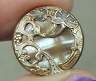 MOP PEARL SHELL BUTTON SET IN BRASS W/ BRASS OVERLAY   9/16