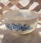 Vintage 2.5qt Federal White Milk Glass Pyrex Mixing Bowl W/Blue Roses Pattern