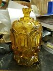 LE Smith Glass  Amber Moon and Stars Compote Candy Dish Jar With Lid  7 3/4
