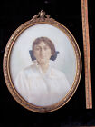 Vintage Original Photograph Print Woman Victorian Ornate Oval wood Gold Frame