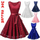 Womens Lace Formal Floral Cocktail Party Wedding Evening Gala Bridesmaid Dress