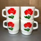 (4) FOUR FIRE KING RED FLOWER FLOWERS STACKING MUGS Set Lot