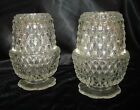 2 Clear INDIANA GLASS Diamond Point 2 Piece FAIRY LAMPS