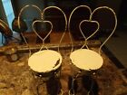 Vintage Child's Doll's Wire Frame Cafe Ice Cream Chairs Set/2 Chippy Paint