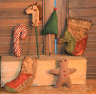 Primitive Christmas 6 Bowl Fillers Stick Horse Candy Cane Tree Gingerbread Man