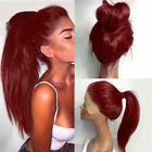 Women Long Ponytails Straight Synthetic Lace Front Wigs Heat Resistant 76CM Wig