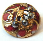ANTIQUE FRENCH VICTORIAN GILT BRASS CHAMPLEVE ENAMEL BUTTON w/STEEL CHERRY STEM