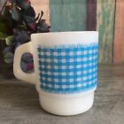 Vintage Gingham Blue Checkered Picnic Blanket Milk Glass Mug Cup, Anchor Hocking