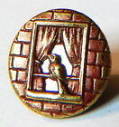 LOVELY ANTIQUE RED TINT BRASS PICTURE BUTTON w/BIRD LOOKING INTO A SILVER WINDOW