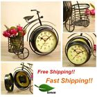 NEOTEND Handmade Vintage Bicycle Clock Bike Mute Two Sided Table Clock GIFT
