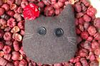 Primitive Christmas Gray Wool Cat Face w Flower Ornament, Ornie