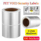 500/Roll Printed Void Security Blank Labels Removed Tamper Evident Stickers