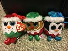 Sugarplum, Fruitcake & Eggnog Ty Baby Beanies Set of 3 Ornaments Lot