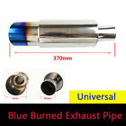 Blue Burned Car Exhaust Pipe Tail Throat Muffler Tip Universal Stainless Steel