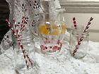 VINTAGE RETRO GLASS DRINKS PITCHER RED BEACH BALLS SUMMER ICE TEA LEMONADE!