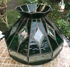 Vintage Antique Dark Green Stained Glass Hanging Lamp etched Pattern