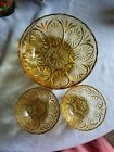 3. ANCHOR HOCKEY AMBER/GOLDEN VINTAGE GLASS STAR CAMEO BOWL SERVING DISHES