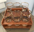 6 Vintage Mid Century 10 oz. Gold Rimmed Bar Glasses With Wooden Caddy, NAVAJO