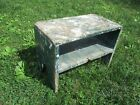 VTG PRIMITIVE ANTIQUE WOOD STEP STOOL COUNTRY GARDEN SHABBY SHEEK BENCH TABLE
