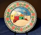 Vintage Fire King Oven Ware Made in USA Hand Painted Folk Art Milk Glass Plate