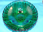 Anchor Hocking Glass Fruit Bowl Forest Green Glass Burple bubble Pattern 8.5
