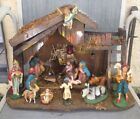 Vintage Electric Lighted Navity Manger Scene in Large Wood Stable Made in Italy