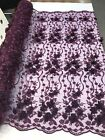 PLUM 3D CHIFFON FLOWER DESIGN EMBROIDERY WITH PEARLS ON A MESH 1 YARD